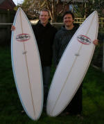 "Wes and Paul with  a 6'2"" and 6'3"" ready for a surf trip to France."